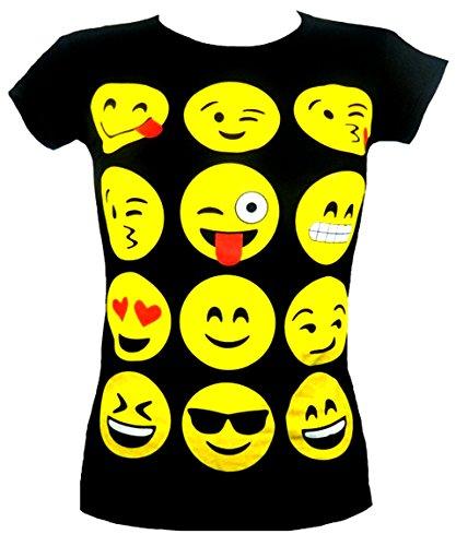 emoji tshirt MÄDCHEN T-SHIRTS UND LEGGINGS EMOJI EMOTICONS SMILEY KURZARM TOPS KINDER ALTER 7 9 11 13 NEU
