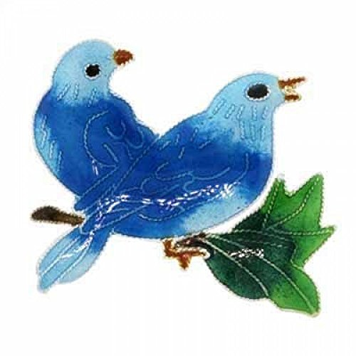 Sterling Silver Two Blue Birds on a Branch Enamel Pin