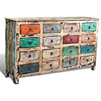 Lingjiushopping Schrank aus recyceltem Holz, Mehrfarbig, 16 Schubladen, Weiß preisvergleich bei billige-tabletten.eu
