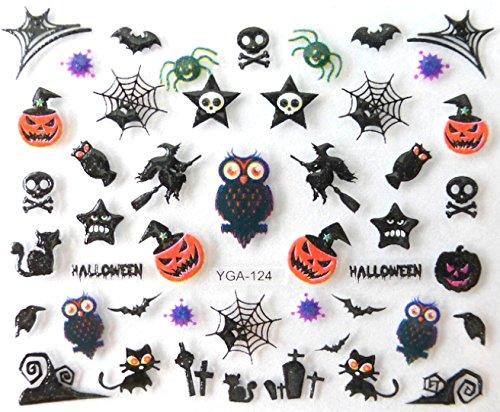 Générique Nail Art Autocollants Stickers Ongles: Décorations Halloween hiboux citrouilles