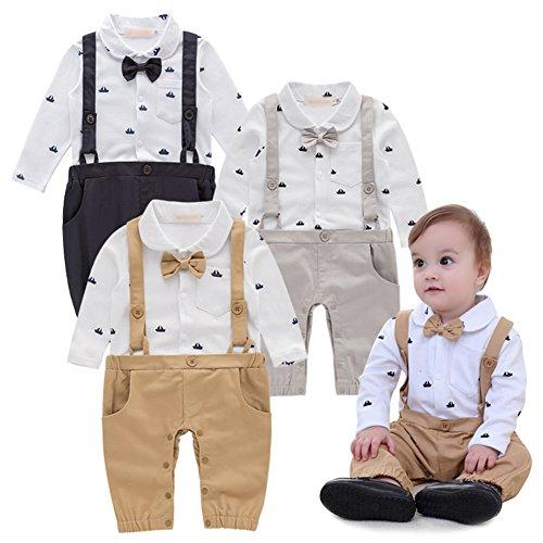 G-kids Baby Jungen Strampler Smoking Gentleman Anzug Einteiler Langarm Outfits Herbst-Frühling Kleidung Jumpsuit Spielanzug Taufkleidung (Khaki, 90/9-12 Monate)