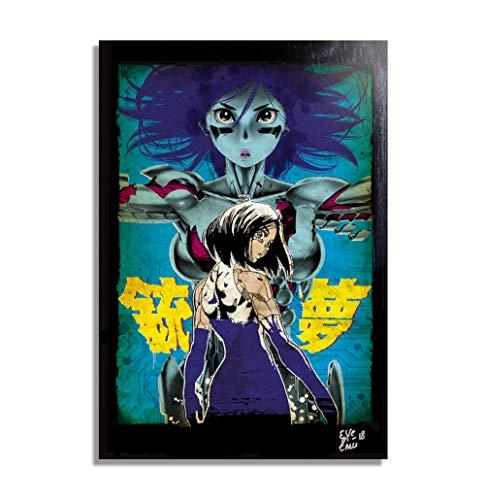 Battle Angel Alita (Gunnm, Y. Kishiro) - Original Gerahmt Fine Art Malerei, Pop-Art, Poster, Leinwand, Artwork, Film Plakat, Leinwanddruck, Anime, Manga -