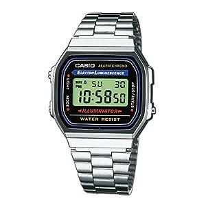 Casio Uhr A168WA-1YES Silber Schwarz Retro Collection Unisex Klassiker Edelstahl Armband Verstellbarer Verschluss