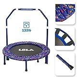 LBLA Kindertrampolin, Trampolin, mit verstellbarem Handlauf und gepolsterter Abdeckung Mini Faltbarer Bungee Rebounder, Innen- / Außentrampolin Maximale Gewicht Beträgt 60KG - 4
