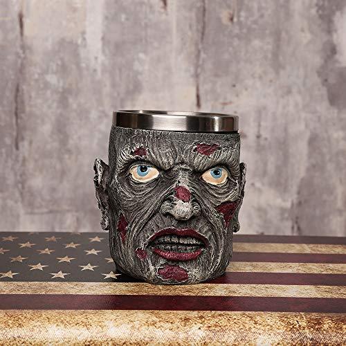 Inveroo Personalisierte Schädel-Becher Doppel-Wand-kaffeepfass Creative Edelstahl Ritter Tankard Dragon Drinking Tea Cup (Becher Kaffee Billig Halloween)