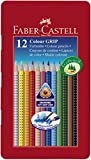 Faber-Castell 112413 - Estuche de metal con 12 lápices de colores triangulares de colores, agarre Grip, acuarelables, lápices escolares, multicolor