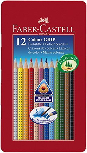 Faber Castell 112413 – Estuche de metal con 12 ecolápices triangulares de colores, agarre Grip, acuarelables, lápices escolares, multicolor