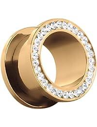 Großer Kristall Gold Glitzer Schraub Flesh Tunnel Zirkonia Innengewinde Piercing