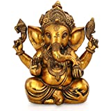 [Sponsored]Collectible India Ganesha Idol Elephant God Figurine Brass Sculpture Golden Antique Finish Showpiece - Large Ganesh Statue