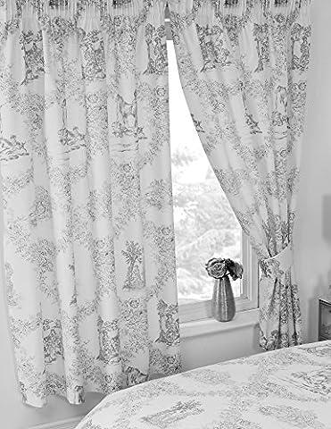 167,6x 182,9cm Toile de Jouy Gris, rideaux + embrasses assorties, par My Home, Damas Country Motif floral traditionnel