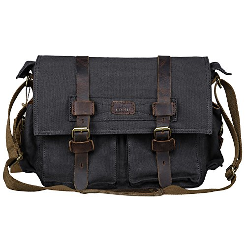S-ZONE Vintage Canvas Leder Trim Abnehmbare Schulter Messenger Tasche Kameratasche für DSLR SLR-Kamera (Schwarz) (Messenger Trim)