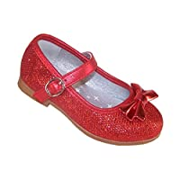 Infant Girls red Sparkly Glitter Party Ballerina Flat Dressing up Special Occasion Shoes