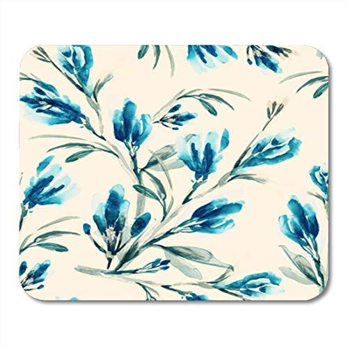 AOCCK Gaming Mauspads, Gaming Mouse Pad Watercolor Floral Summer Flowers Hand Yellow Water Vintage Drawing Turquoise 11.8