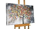 KunstLoft® Acryl Gemälde 'Evolution' 120x80cm | original handgemalte Leinwand Bilder XXL | Abstrakt Grau Bunt Baum Natur | Wandbild Acrylbild moderne Kunst einteilig mit Rahmen