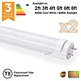 2 x Brite Source LED T8 Fluorescent Tube Replacements ([6000k] - Daylight, 5ft - 24w - 1500mm [58w Replacement])