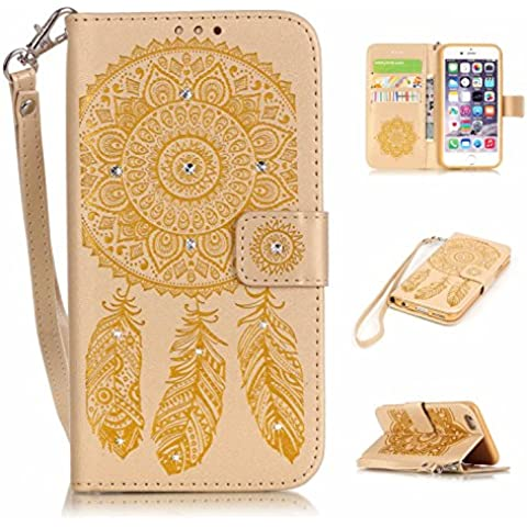 iPhone 6 Plus/6S Plus Custodia in pelle Portafoglio, iphone 6 Plus/6S, M. JVisun strass Dream Catcher in pelle + morbida in silicone con tracolla di tasca custodia Flip Case per Apple Iphone 6 PLUS/iphone 6s plus, Pelle, oro, For iPhone 6 Plus / 6S Plus