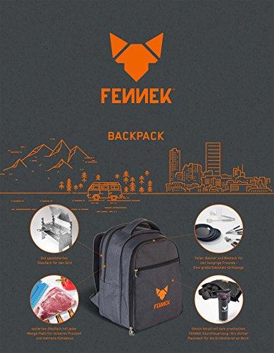FENNEK Backpack Grill im Set, Picknick-Rucksack, Camping, Trekking, Wandern, Outdoor, mit Kühlfach und Zubehör für 4 Personen, Camping Grill - 2