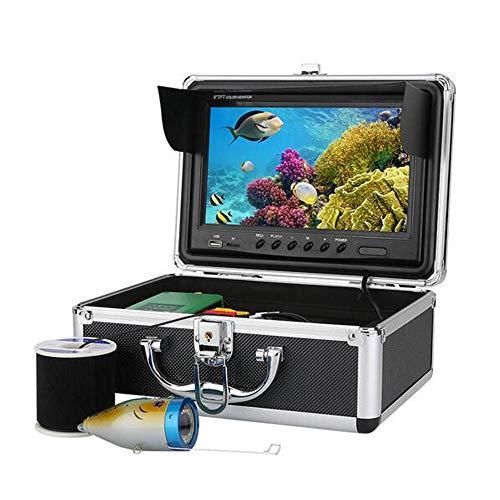 MICHEN Tragbarer Fischfinder Sonar Alarm Transducer, 30 LEDs 9 Zoll DVR Recorder 1000TVL Fish Finder Unterwasserfischerkamera 15pcs weiße LEDs Plus 15pcs Infrarotlampe 30 Transducer