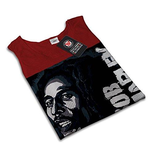 Marley Bob jamaikanisch Rasta Musik Liebe Damen S-2XL Muskelshirt | Wellcoda Rot