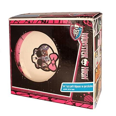 Monster High Mädchen 3 Stück Ceramic Frühstücks-Set - Skull