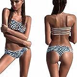 Moonuy,Calvin klein bikini,Frauen Bikini Push-up, Bandge gepolsterter BH Badeanzug Bade-Set Beach Bademode, Draht frei Badeanzug, Bade Kostüm für Damen (Weiß, EU 36 / Asien M)