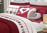BIANCHERIAWEB Completo Lenzuola in 100% Cotone Disegno Cuore Appeso Matrimoniale Rosso