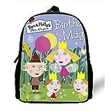 Mochila pequeña de 12 pulgadas de dibujos animados Ben y Holly Kingdom Girls, mochilas escolares Niños de jardín de infantes Mini bolsos para bebés de 3-7 años