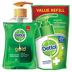 Dettol Gold Liquid Hand Wash Daily Clean - 250 ml with Free Dettol Pouch - 185 ml