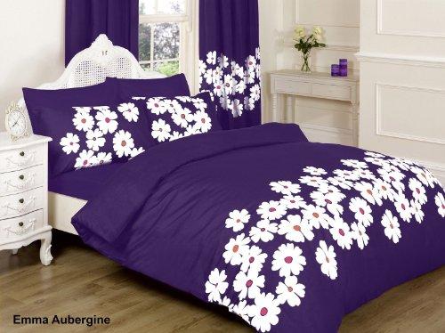 emma bettdecke ||jaaz Textile|| Emma aubergine doppelt Bedruckte Bettwäsche Bettbezug-Set (Bettbezug + 2Kissenbezügen)