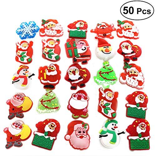 BESTOYARD Bestyard Weihnachts-Brosche mit blinkenden LEDs, für Kinder-Partys, Geschenke, 50 Stück (Stil gemischt)