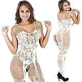 SUCES Dessous Schritt öffnen Netz aushöhlen Jacquard Versuchung Siamesische Strümpfe Frauen Hohl Perspektive Suspenders Siamesische Strümpfe Lace Set Nachthemd Uniform (White)
