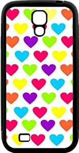 Rikki Knight Rainbow Candy Hearts Samsung Galaxy S4 Case Cover (Black Hard Rubber TPU with Bumper Protection)