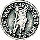 "1 1/4"" ST SAINT CHRISTOPHER PEWTER POCKET TOKEN Keepsake Medal"