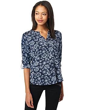 Tom Tailor für Frauen Shirt / Blouse Blusenshirt mit floralem Muster real navy blue 44