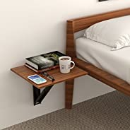 BLUEWUD Hemming Wall Mounted Engineered Wood Folding Bed Side Table (Set of 2) Walnut