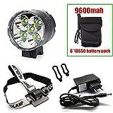 Altruism Lanterne XM-L 5 x T6 Phare de vélo LED 7000 lumens Lampe Frontale + Chargeur 8,4 V + Batterie 9600 mAh, 9600MAH
