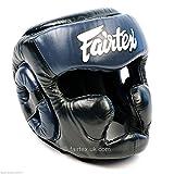 Fairtex - Protector de Cabeza para Muay tailandés, Cobertura Completa, Color Negro y Azul, Large
