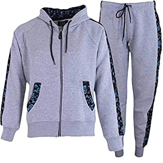 Love My Fashions Ladies Tracksuit Womens Sportswear Floral Side Panel Fleece Hood Jogging Bottom Set Casual Sweatshirt (Grey Medium)