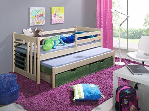 Massivholz Kiefer Kinderbett doppelbett NEU inkl.2Matratzen Jugendbett SIMON 190x80 kiefer/olive