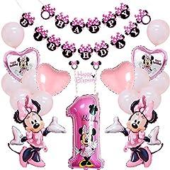 Idea Regalo - Minnie Mouse 1 ° Compleanno Decorazioni con Pink Minnie Happy Birthday Banner Cake Topper per Neonate