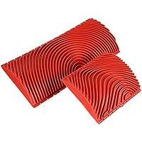 - 2 cepillos para el diseño de las vetas de la madera Favourall, de goma, forma en M, herramienta de decoración, bricolaje, color rojo