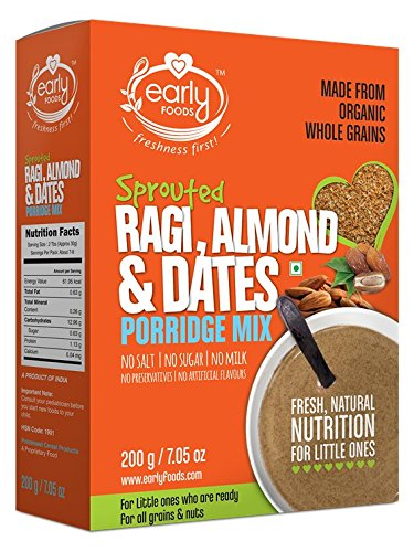 Early Foods Organic Sprouted Ragi Almond Date Porridge Mix 200 Grams