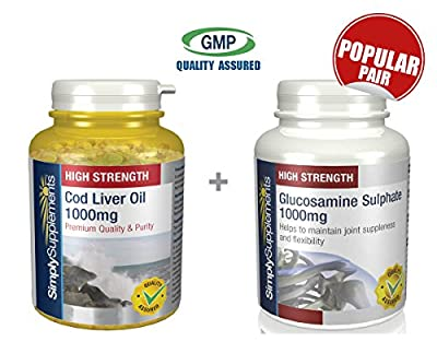 SimplySupplements Cod Liver Oil 1000mg 360 Capsules + Glucosamine Sulphate 1000mg 360 Tablets |Joint & Heart Suppor from Simply Supplements
