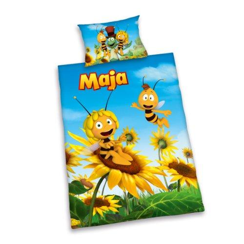 Herding 248755063 Biene Maja 3D Bettwäsche, 40 x 60 cm + 100 x 135 cm mit Hoteleinschlag, Renforce (Bettbezug Honig)