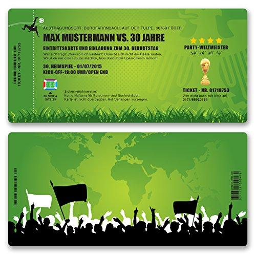 (10 x) Einladungskarten Geburtstag Fussball Kindergeburtstag Ticket Einladungen