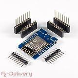 AZDelivery D1 Mini NodeMcu Lua ESP8266 ESP-12E Internet Module WIFI carte de développement pour Arduino, compatible avec WeMos D1 Mini à 100%