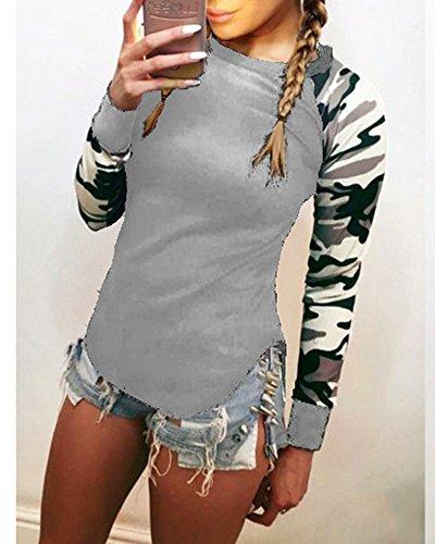 Camicetta Blusa Manica Lunga Casual Elegante Girocollo T-shirt Maliga per Donna Grigio