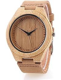Reloj de Madera de Bambú con Correa de Cuero Genuino Movimiento de Cuarzo Japonés (Mujer, Marrón 4)