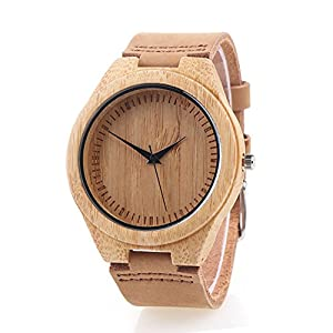 Bamboo Wooden Watch with Genuine Leather Strap Japanese Quartz Movement (Women, Brown 4)