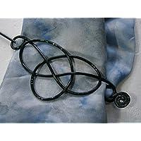 Tuchnadel schwarz keltischer Knoten Aluminium als Geburtstagsgeschenk, Muttertagsgeschenk